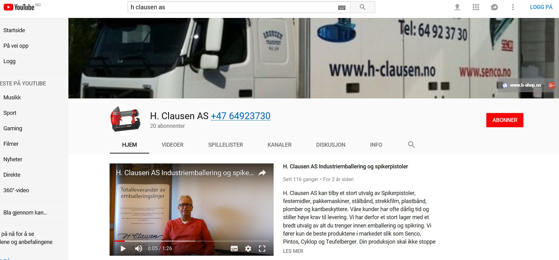 H. Clausen AS på Youtube